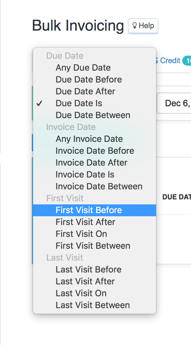 Example of Filtering By First or Last Date in Bulk Invoicing