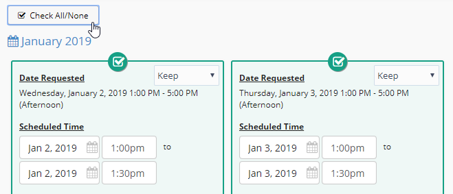 Select All Events or No Events in Bulk Edit Pending Request