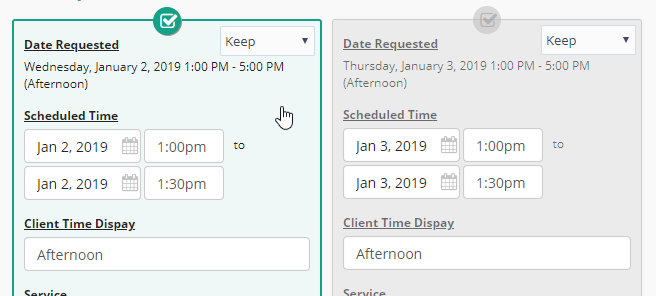 Select Events To Override in Bulk Edit Pending Request