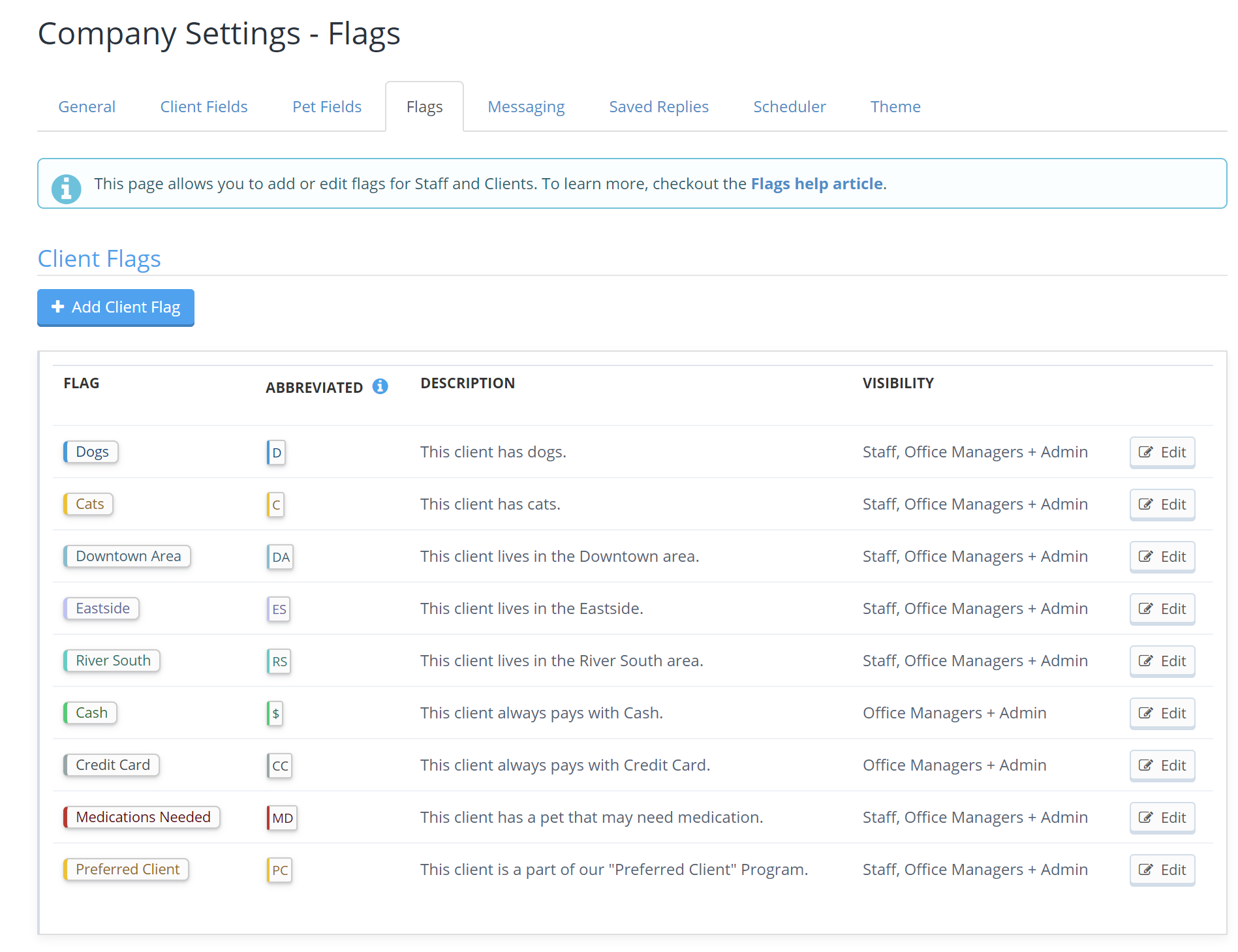 Client Flags in Company Settings