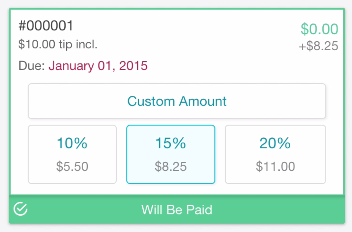 easily add a tip to a paid invoice time to pet