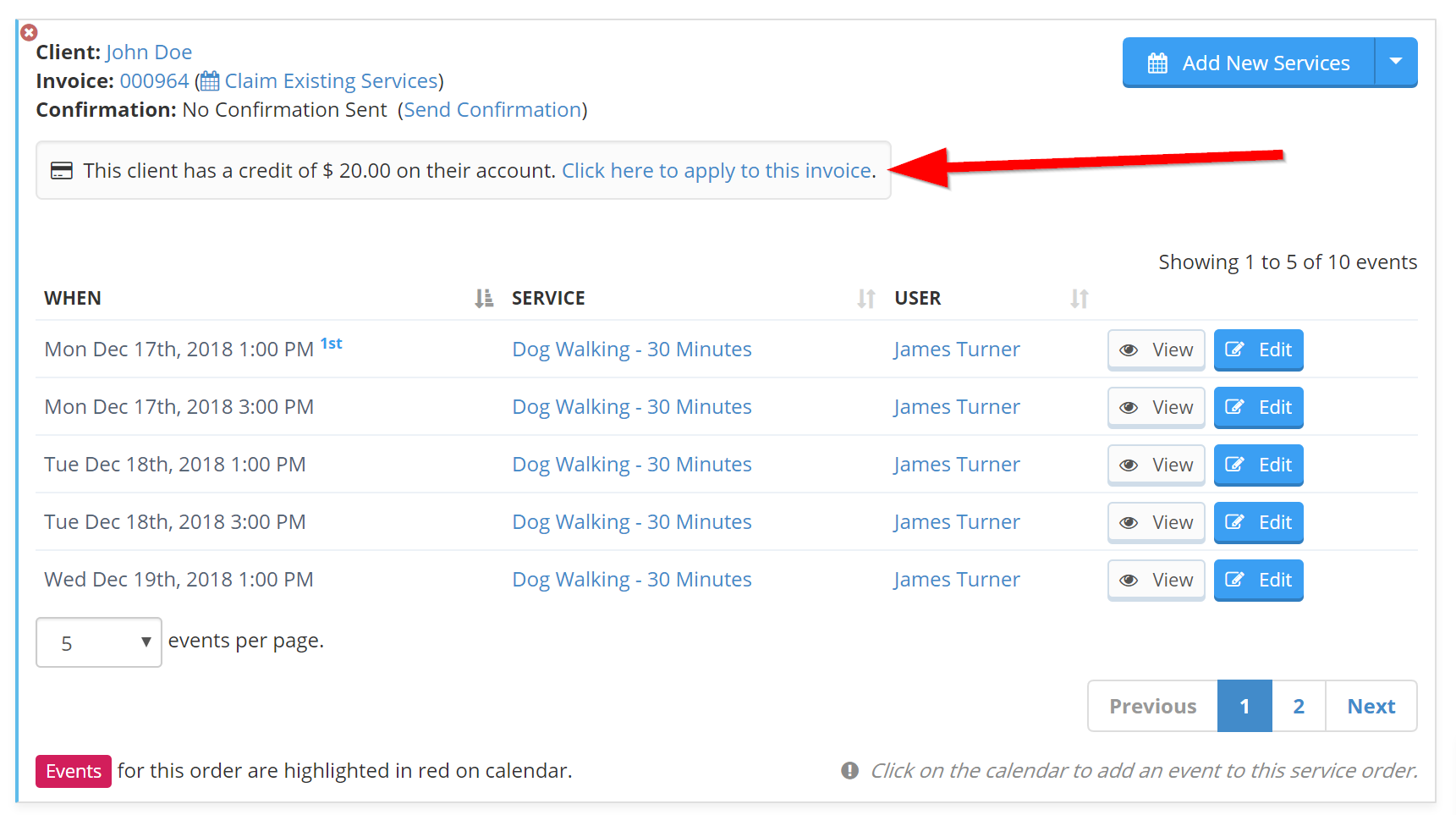 Redeeming Credit From Service Order in Scheduler
