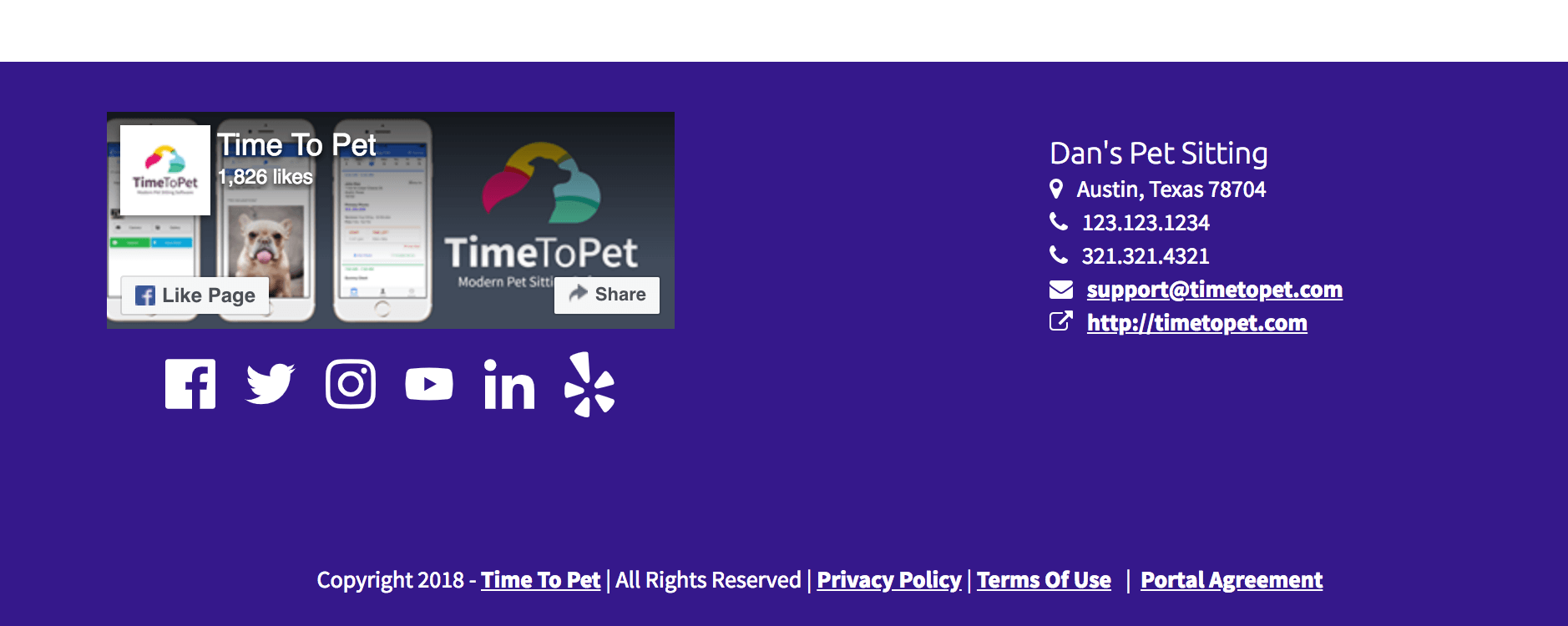 Pet Sitting Social Media Icons in Portal Footer
