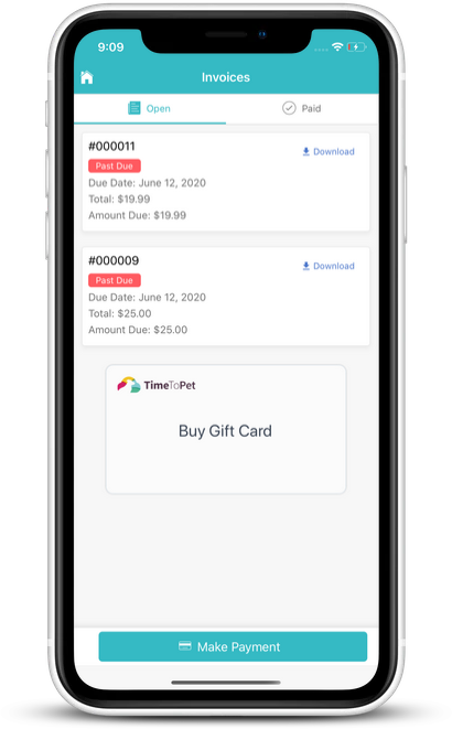 Screenshot of Gift Card tool on Client App
