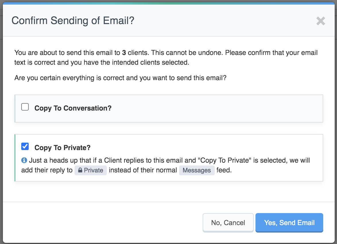 Screenshot of tool to send mass emails to private channel.