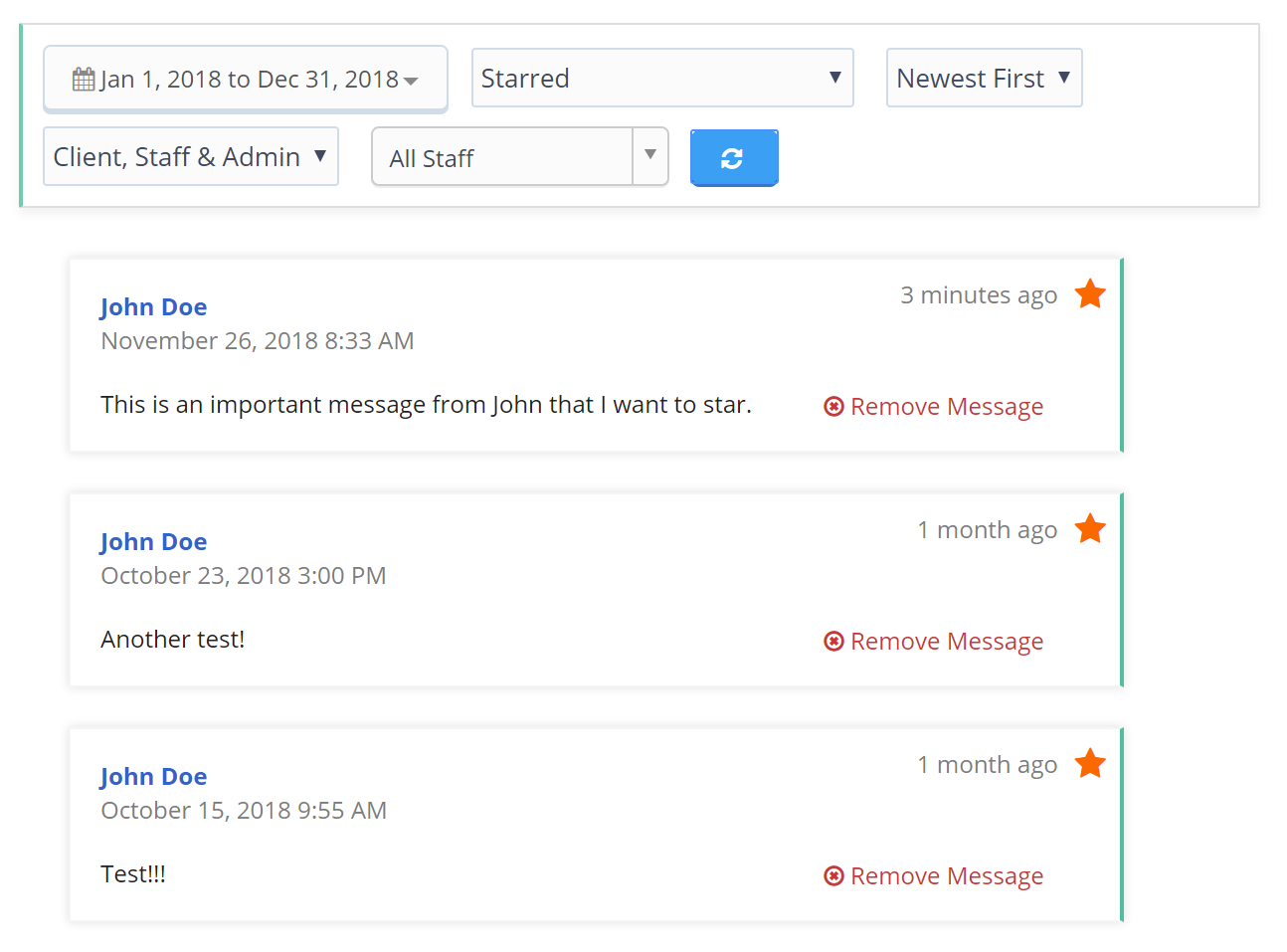 Viewing Messages Filtered by Star in Client Conversation Feed