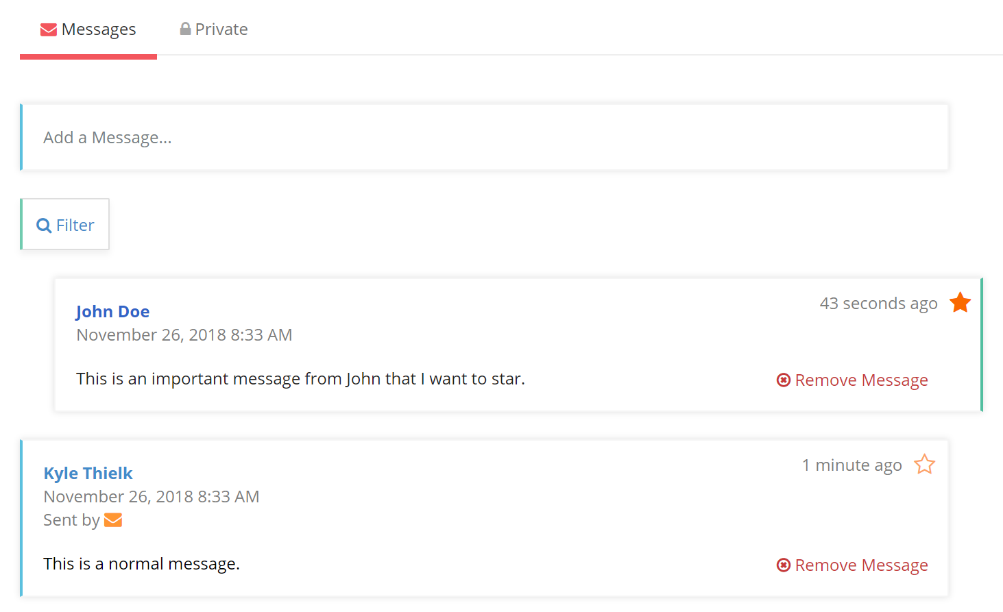 Starred Message View in Client Conversation Feed
