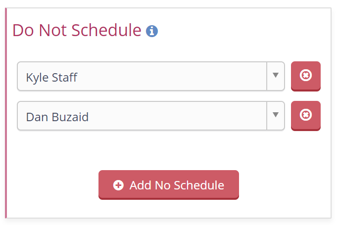 Do Not Schedule Tool on Client Profile