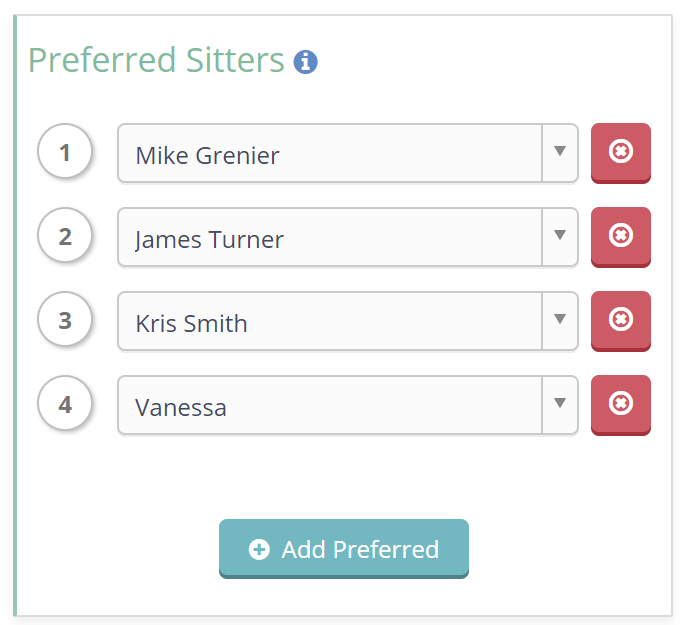 Unlimited Preferred Sitter Tool on Client Profile