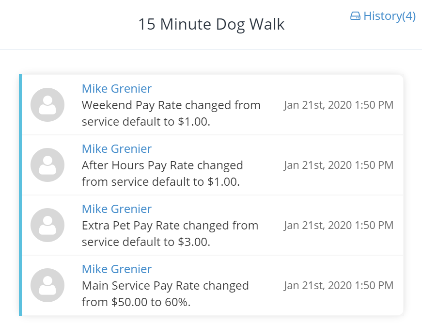 History of Pay Rate Changes Screenshot