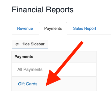 Gift Card Reporting found in Reporting -> Financial