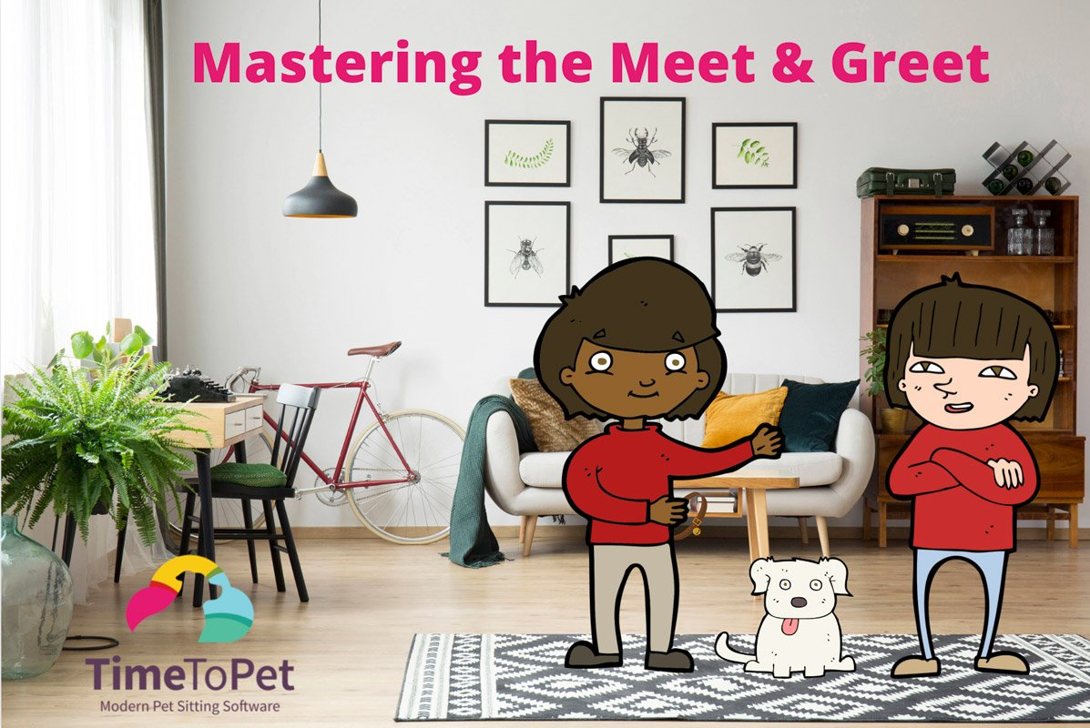Pet care meet and greet in living room for pet sitting or dog walking