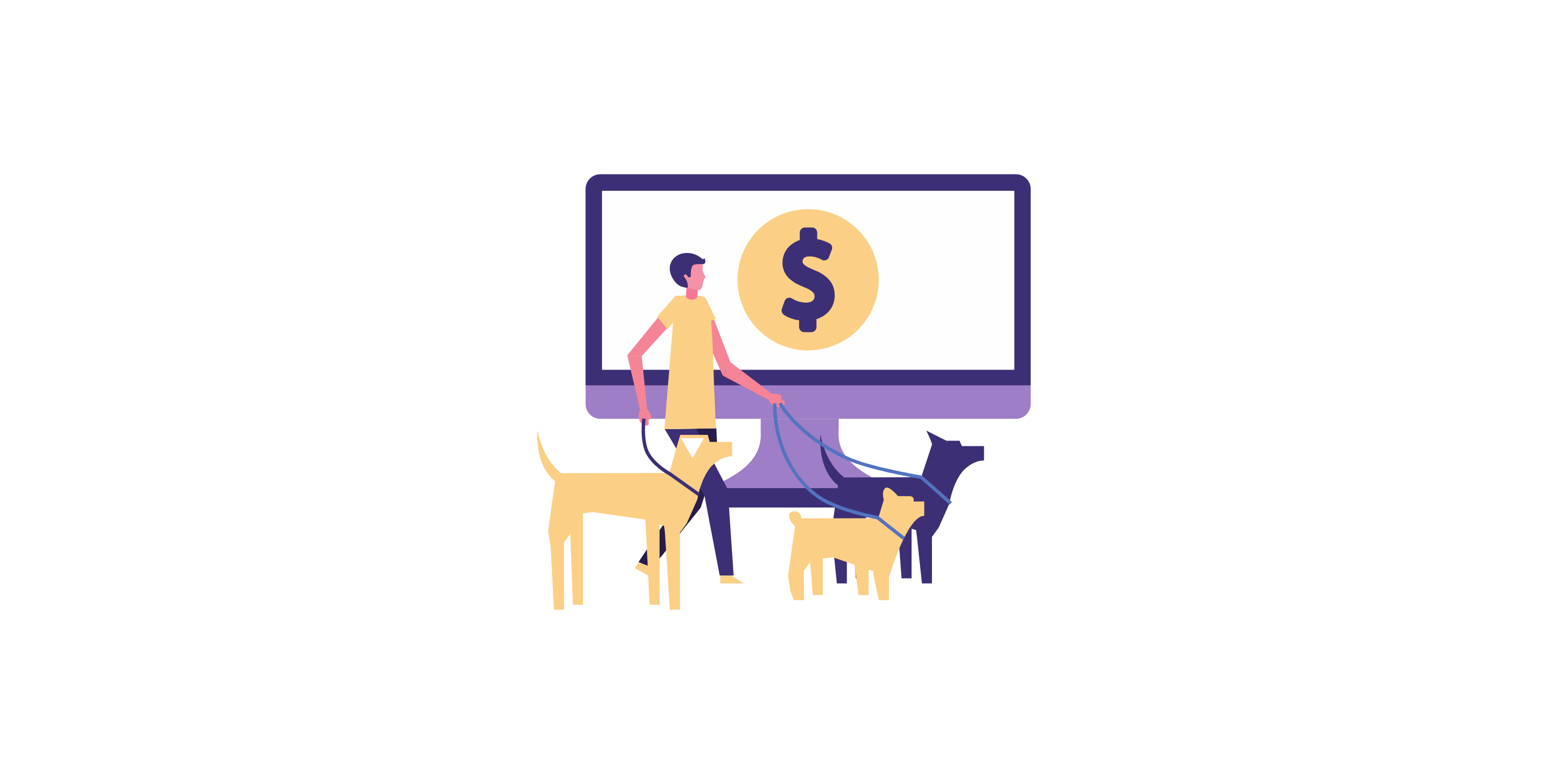 dog walker in front of a computer with dollar sign