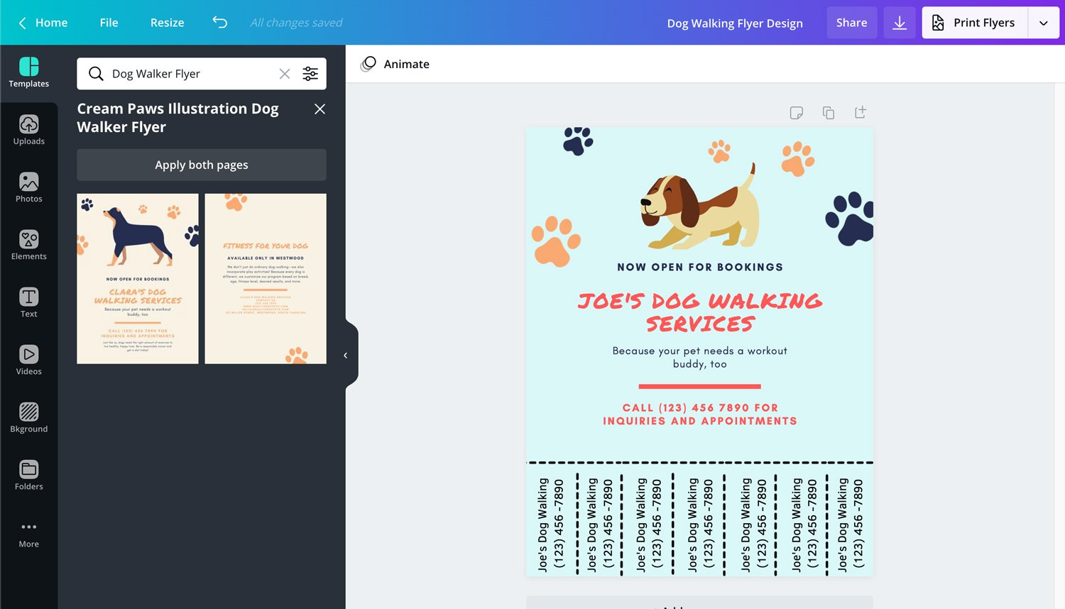 Canva-dog-walking-flyer-creator
