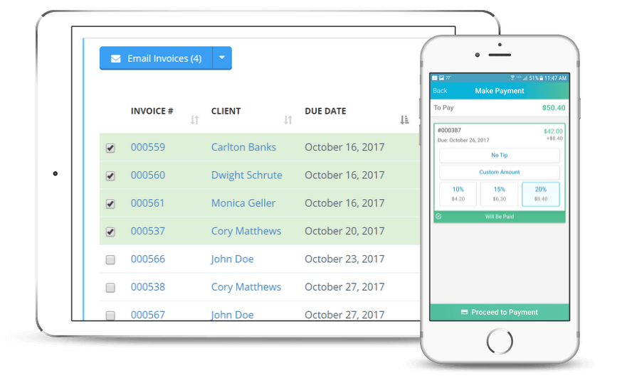 Dashboard and Mobile App Invoicing